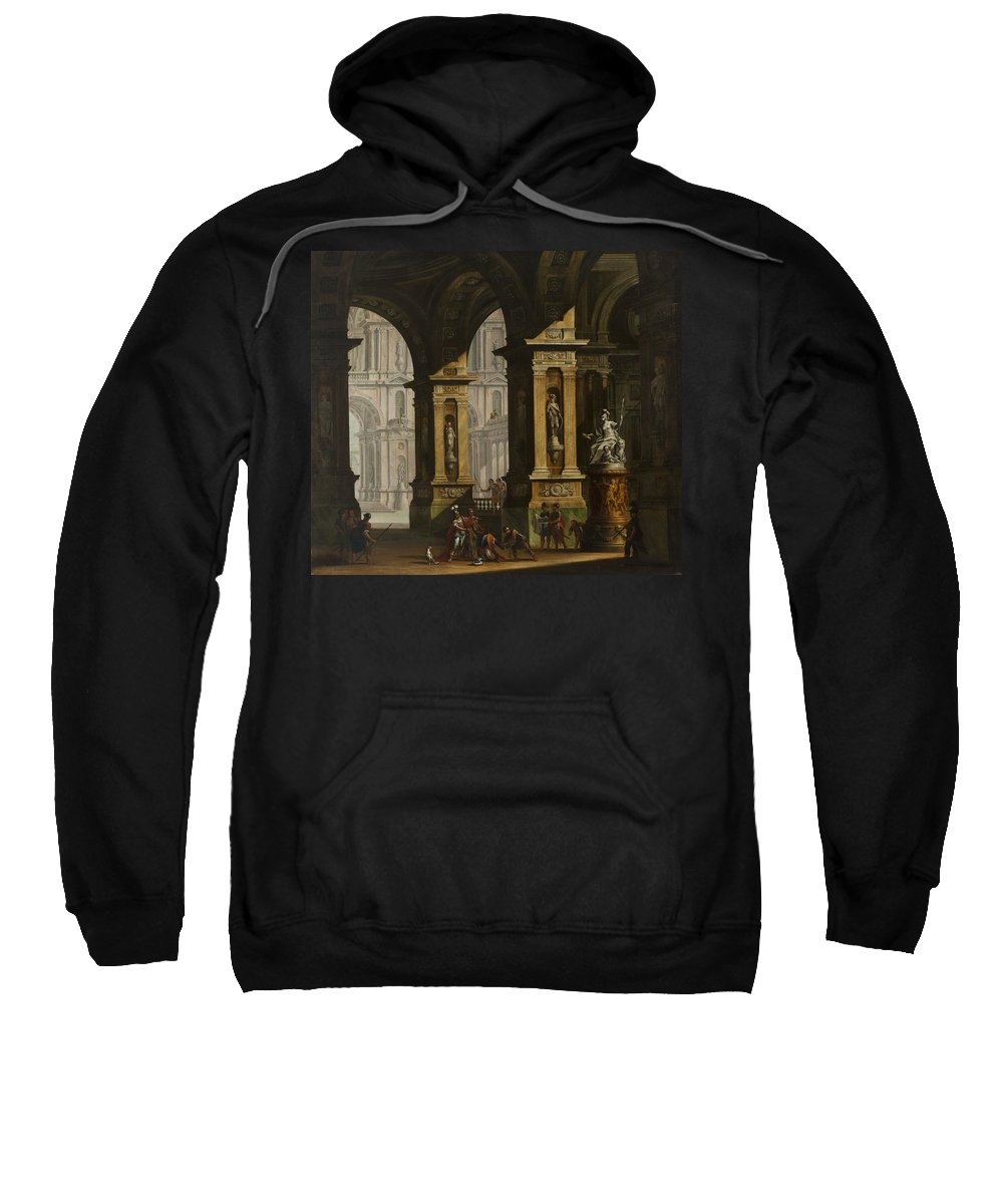 Antonio Joli Sweatshirt featuring the painting Inside Of The Palace With Soldiers by Antonio Joli