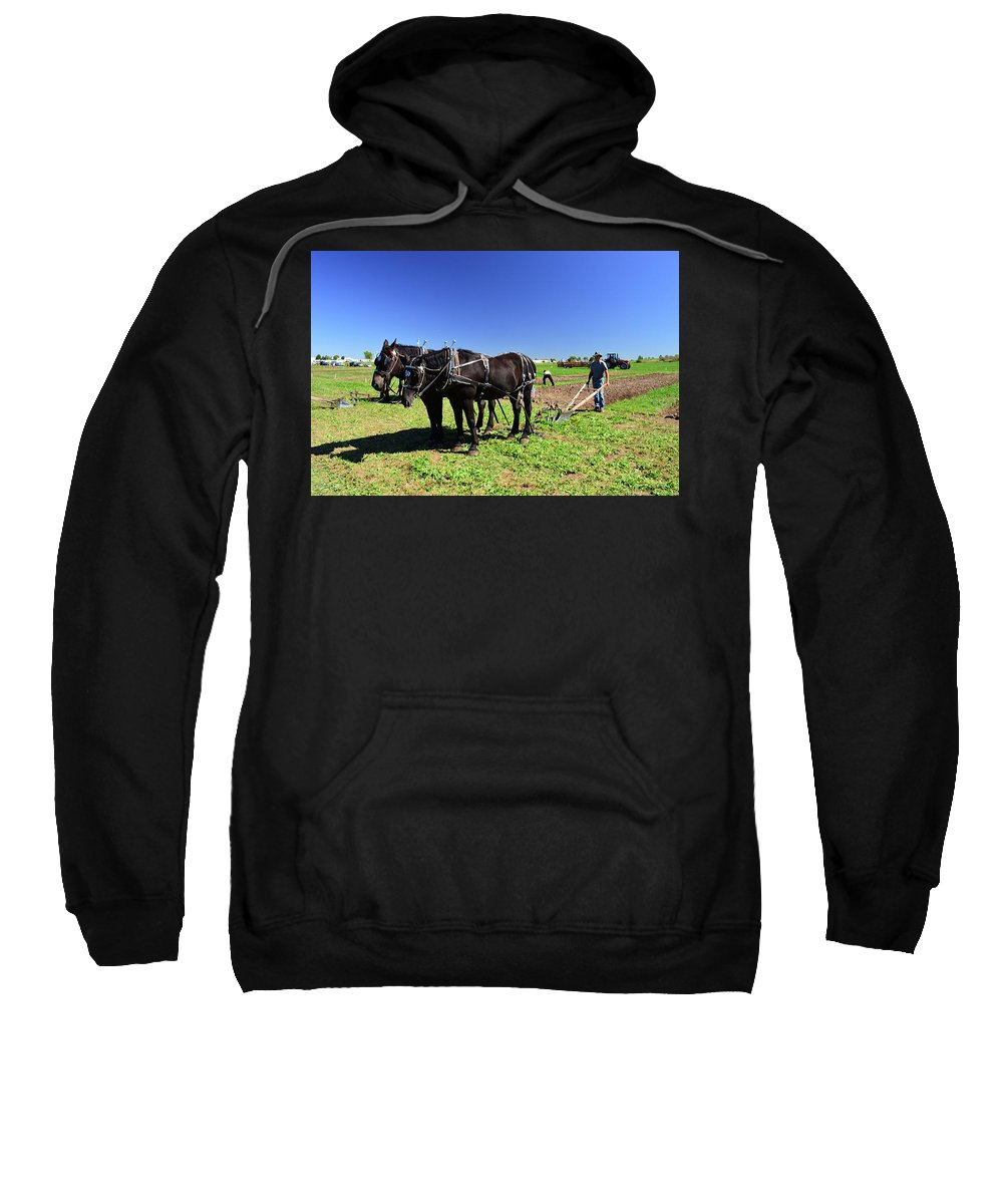 Horses Sweatshirt featuring the photograph Instructing The Horses Two by Lyle Crump