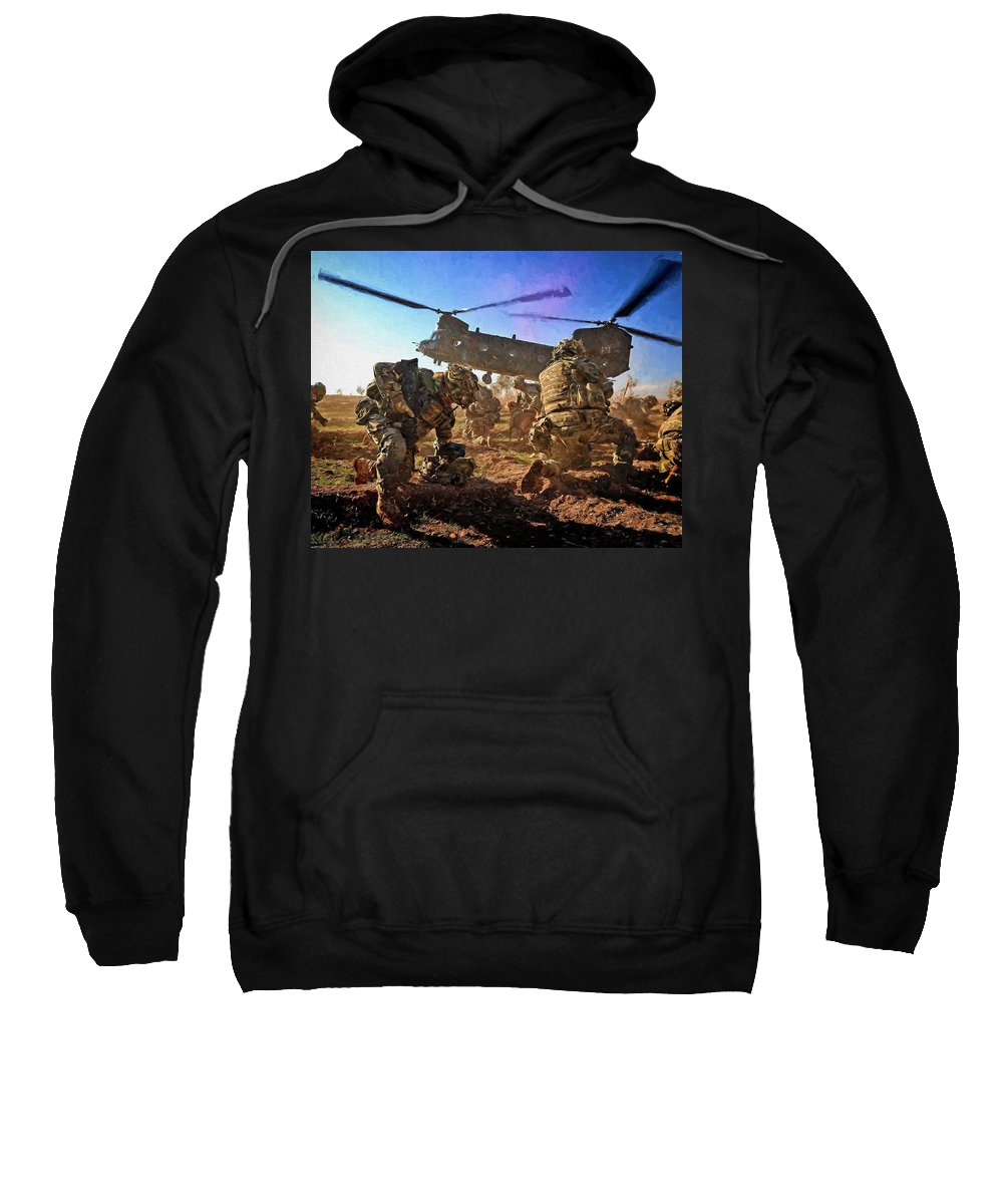 Army Sweatshirt featuring the digital art Into Battle - Painting by Roy Pedersen