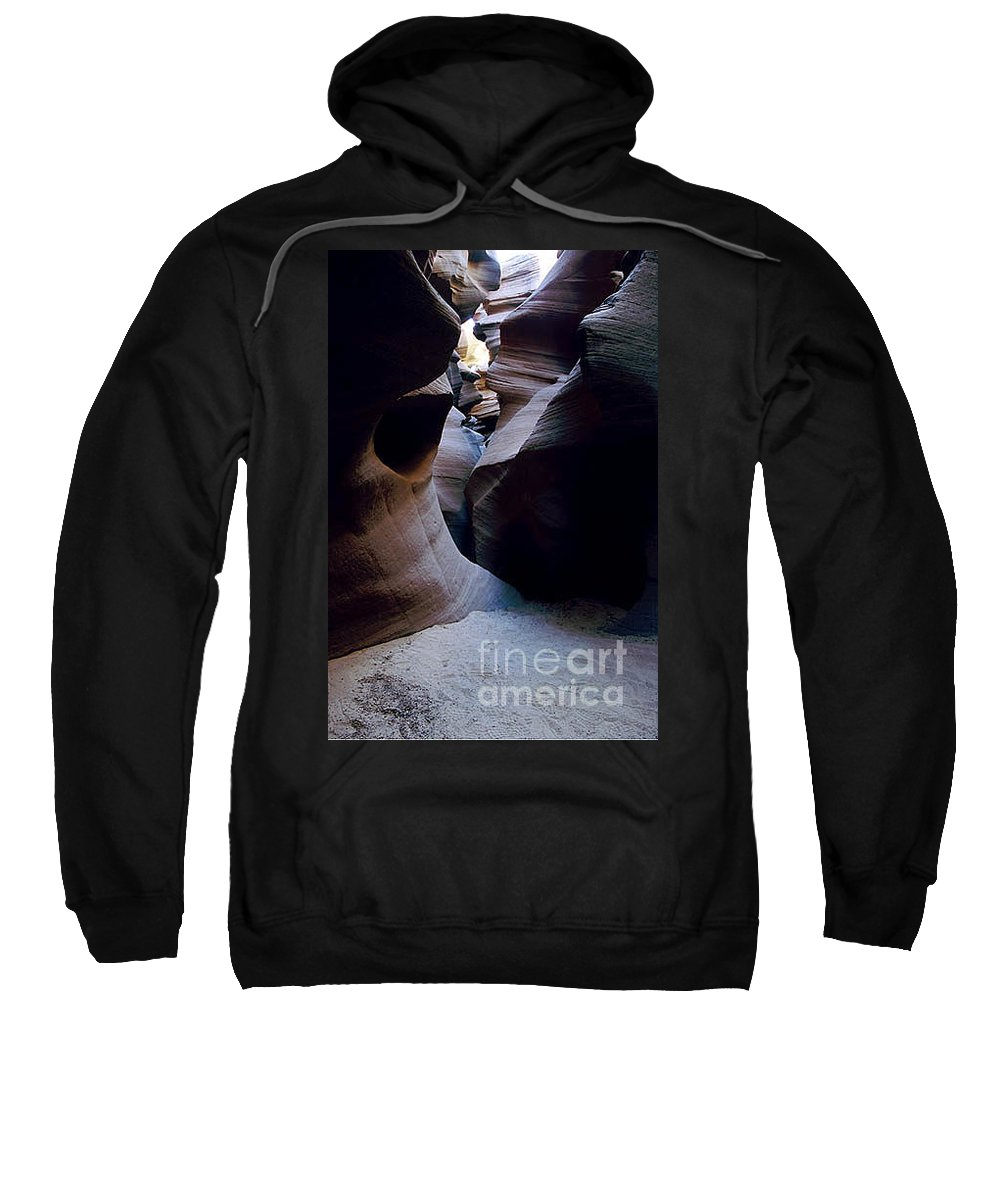 Slot Canyons Sweatshirt featuring the photograph Into The Depths by Kathy McClure