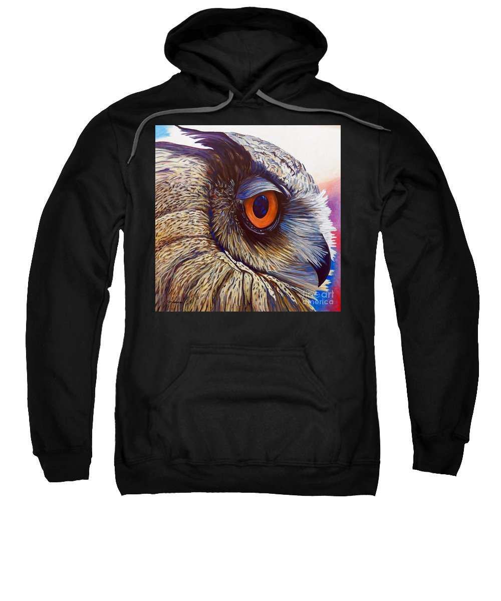 Owl Sweatshirt featuring the painting Introspection by Brian Commerford