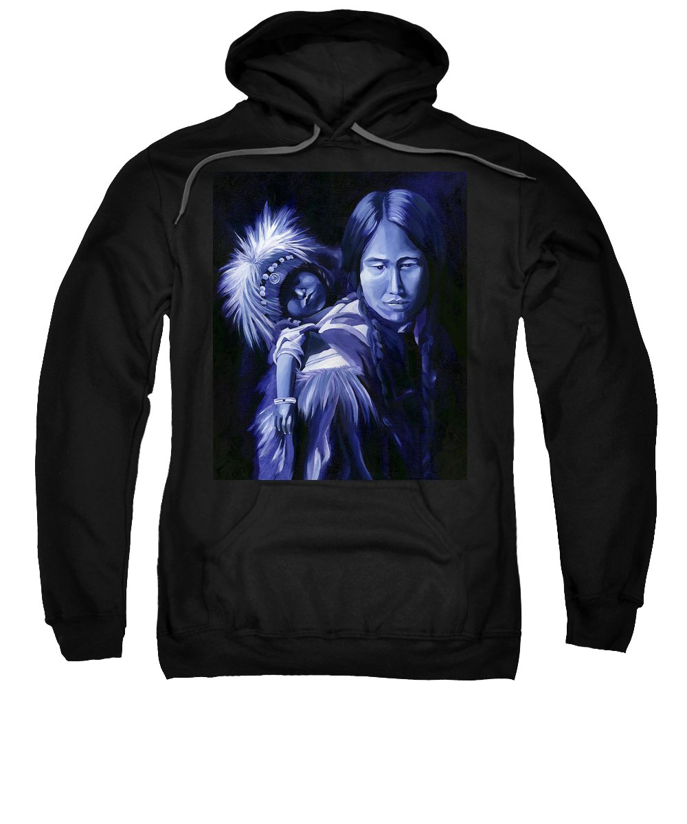 Native American Sweatshirt featuring the painting Inuit Mother And Child by Nancy Griswold