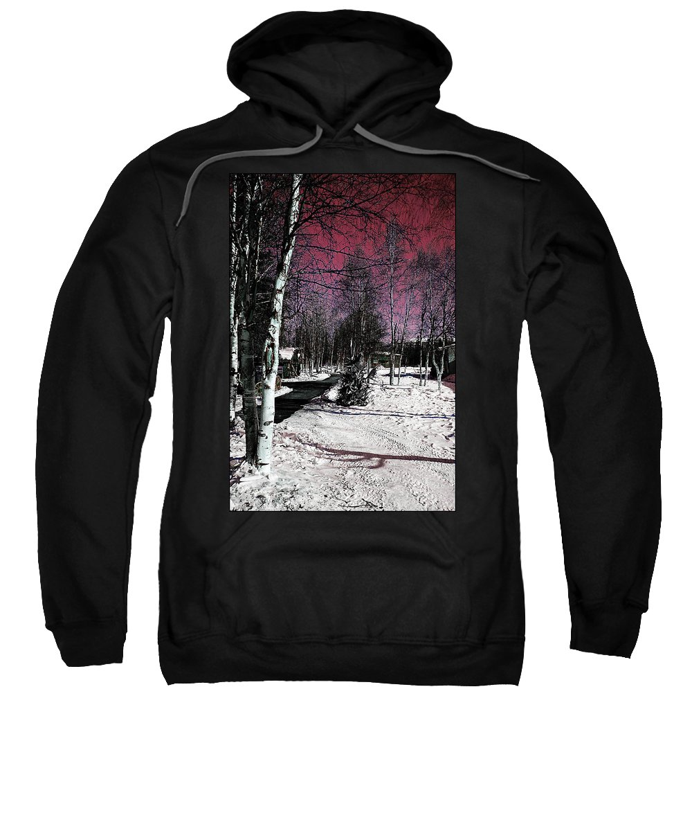 Winter Snow Red White Trees Fairbanks Alaska Sweatshirt featuring the photograph Invernal Landscape by Galeria Trompiz