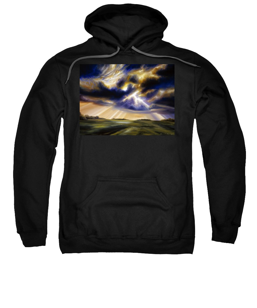 Sunrise; Sunset; Power; Glory; Cloudscape; Skyscape; Purple; Red; Blue; Stunning; Landscape; James C. Hill; James Christopher Hill; Jameshillgallery.com; Ocean; Lakes; Storms; Lightning; Rain; Rays; God Sweatshirt featuring the painting Iowa Storms by James Christopher Hill