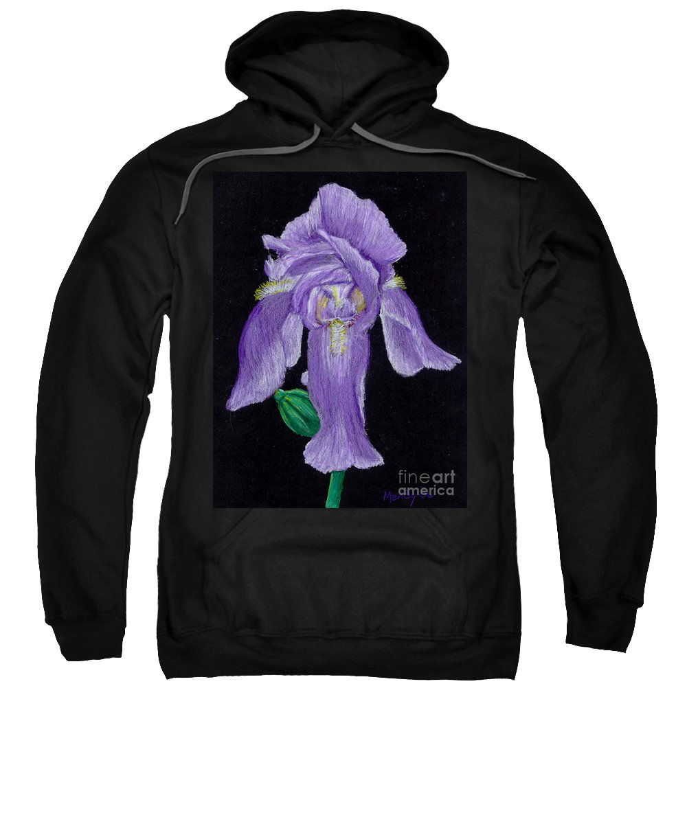 Iris Sweatshirt featuring the pastel Iris by Mendy Pedersen
