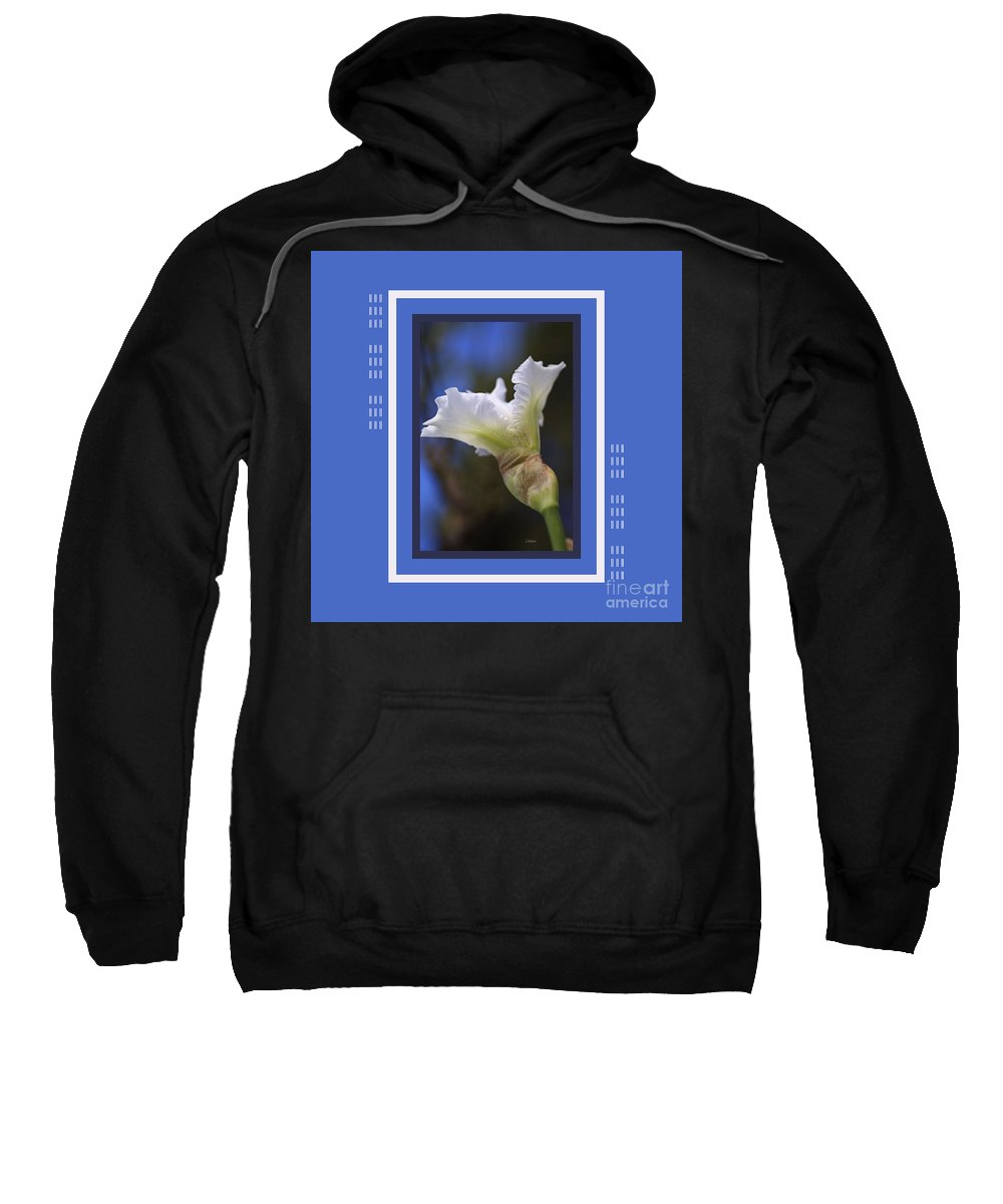 Floral Sweatshirt featuring the photograph Iris White With Design by Joy Watson