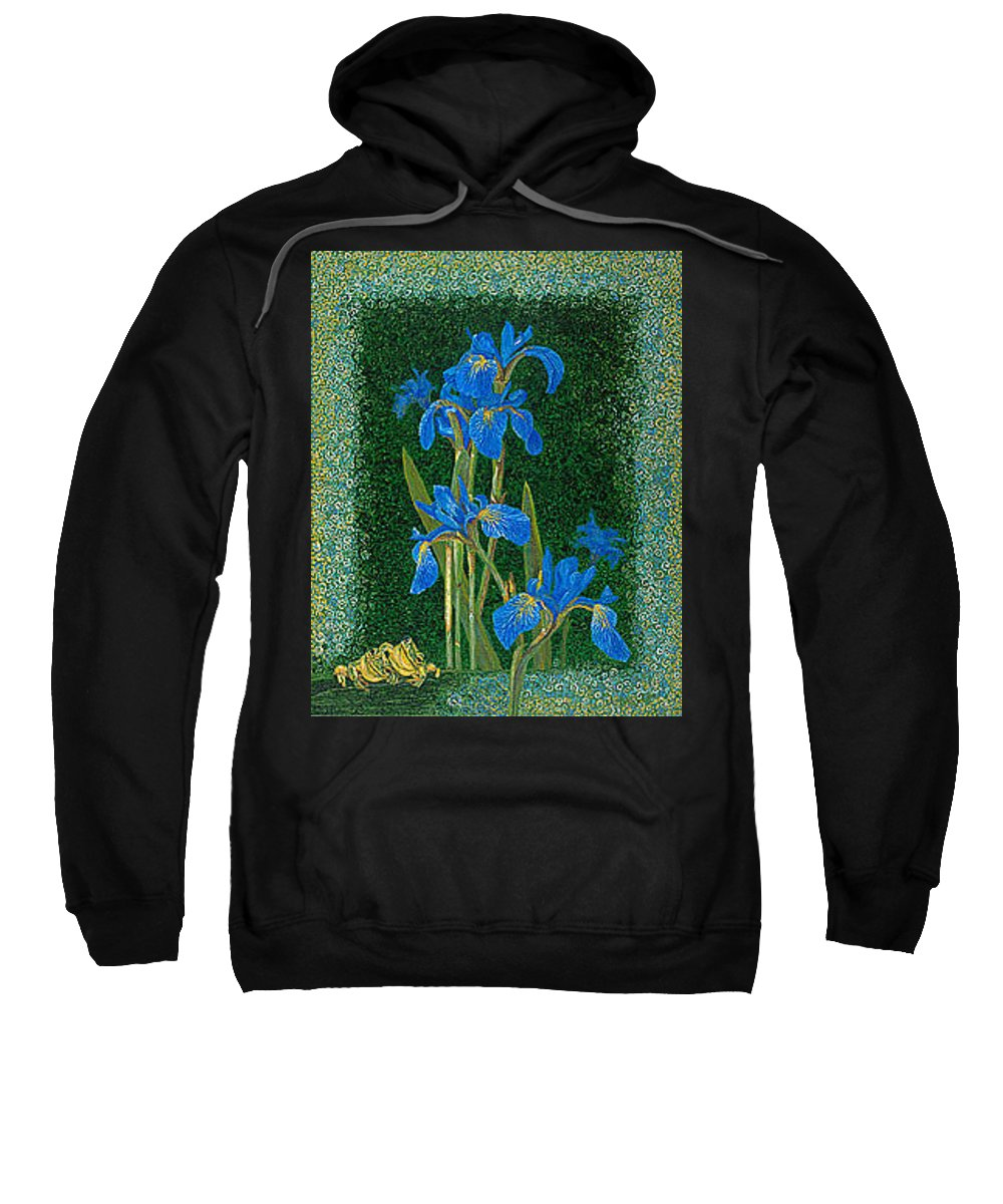 Irises Sweatshirt featuring the painting Irises Blue Flowers Lucky Love Frog Friends Fine Art Print Giclee High Quality Exceptional Colors by Baslee Troutman