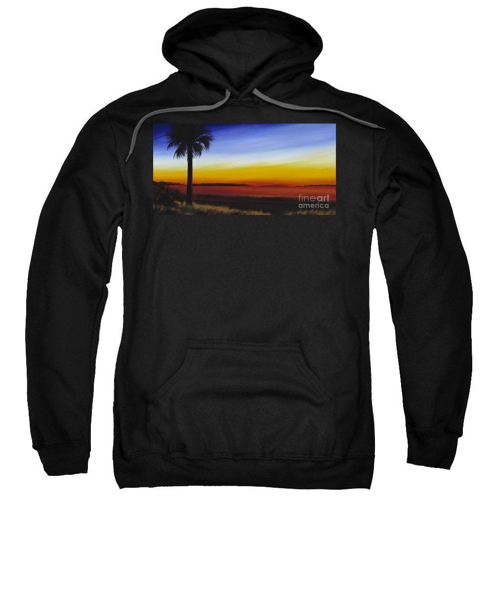 Palmetto Tree Sweatshirt featuring the painting Island River Palmetto by James Christopher Hill
