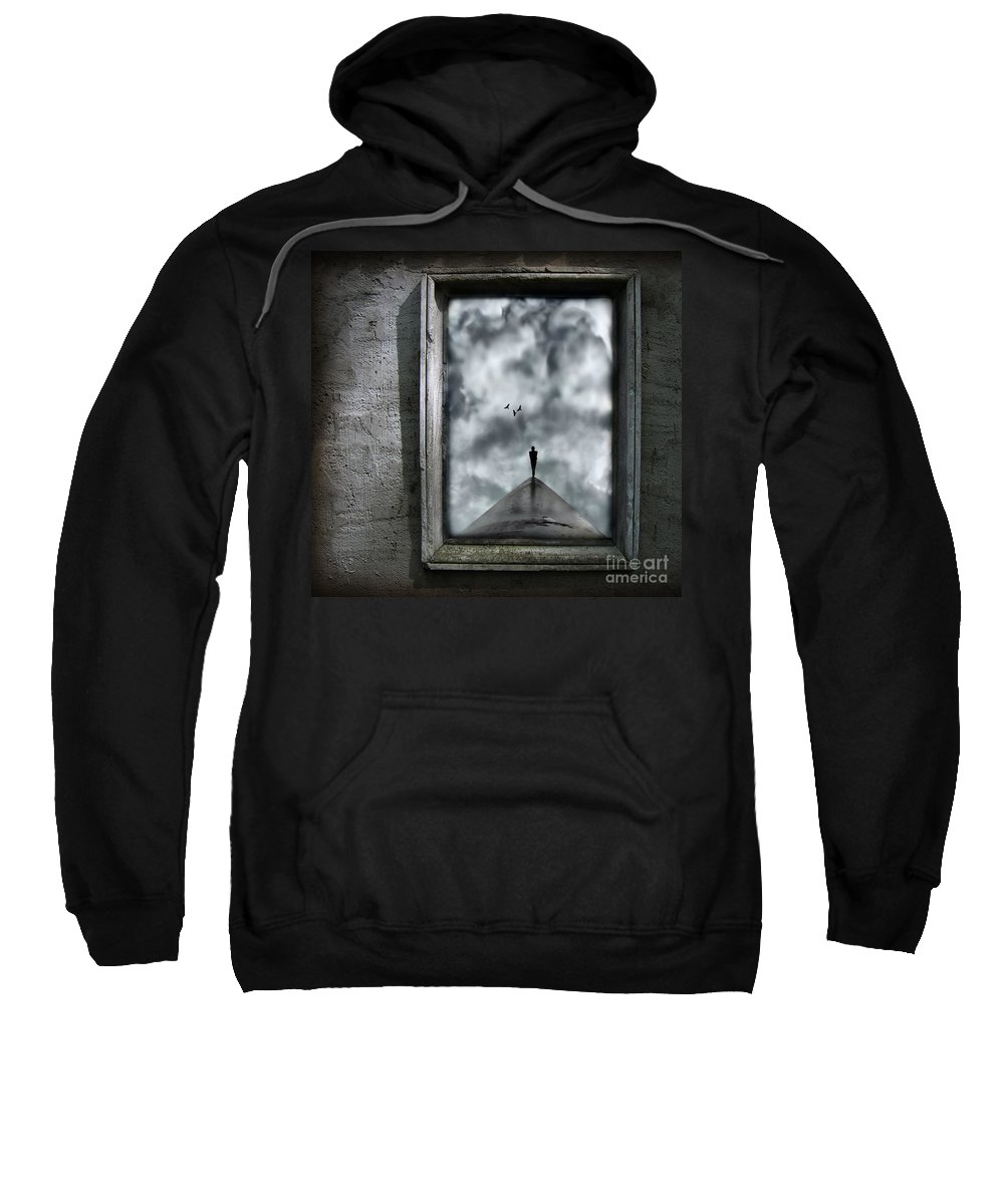 Dark Sweatshirt featuring the painting Isolation by Jacky Gerritsen