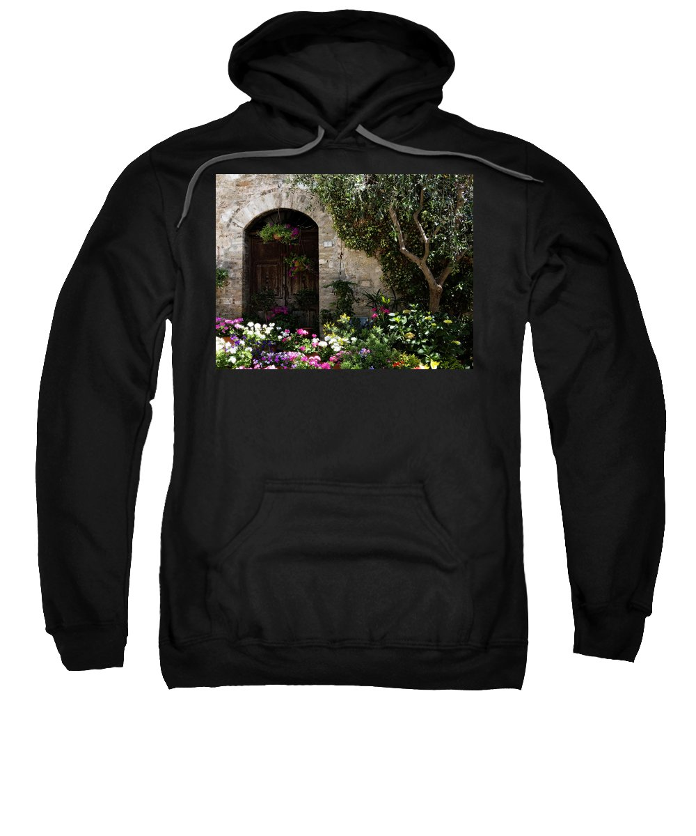 Flower Sweatshirt featuring the photograph Italian Front Door Adorned with Flowers by Marilyn Hunt