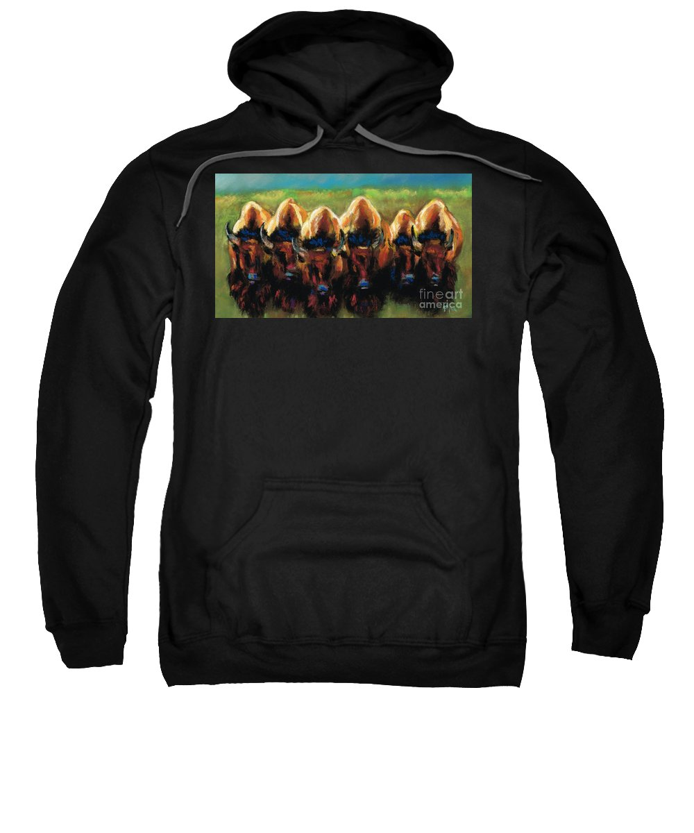 Bison Sweatshirt featuring the painting Its All Bull by Frances Marino