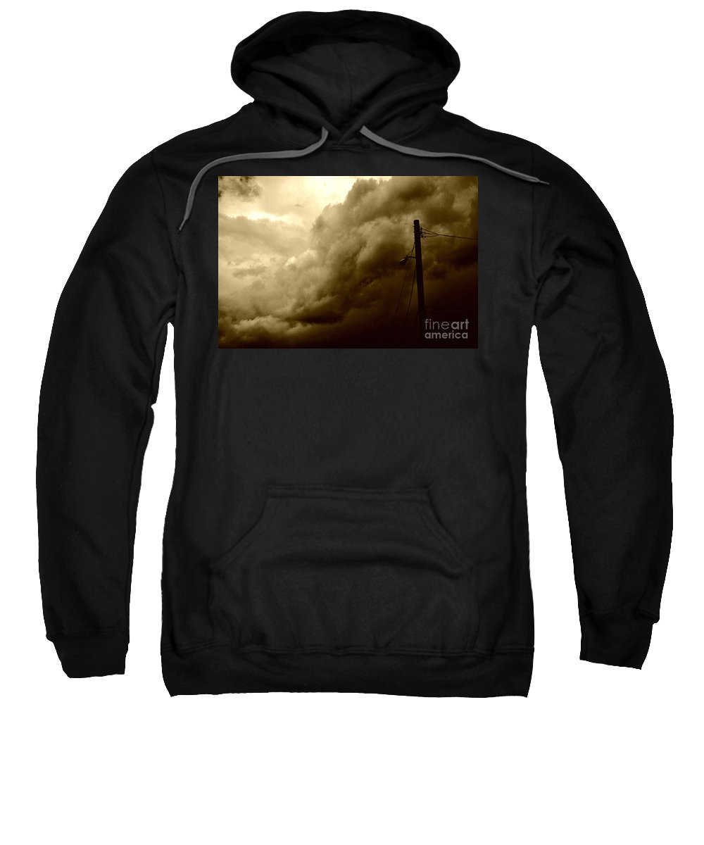 Clay Sweatshirt featuring the photograph It's Coming by Clayton Bruster