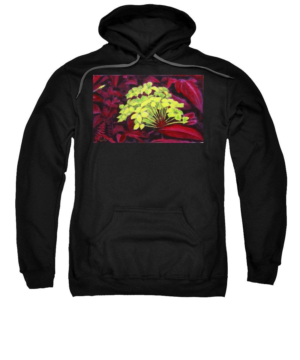 Foliage Sweatshirt featuring the painting Ixora - Jungle Flame by Usha Shantharam