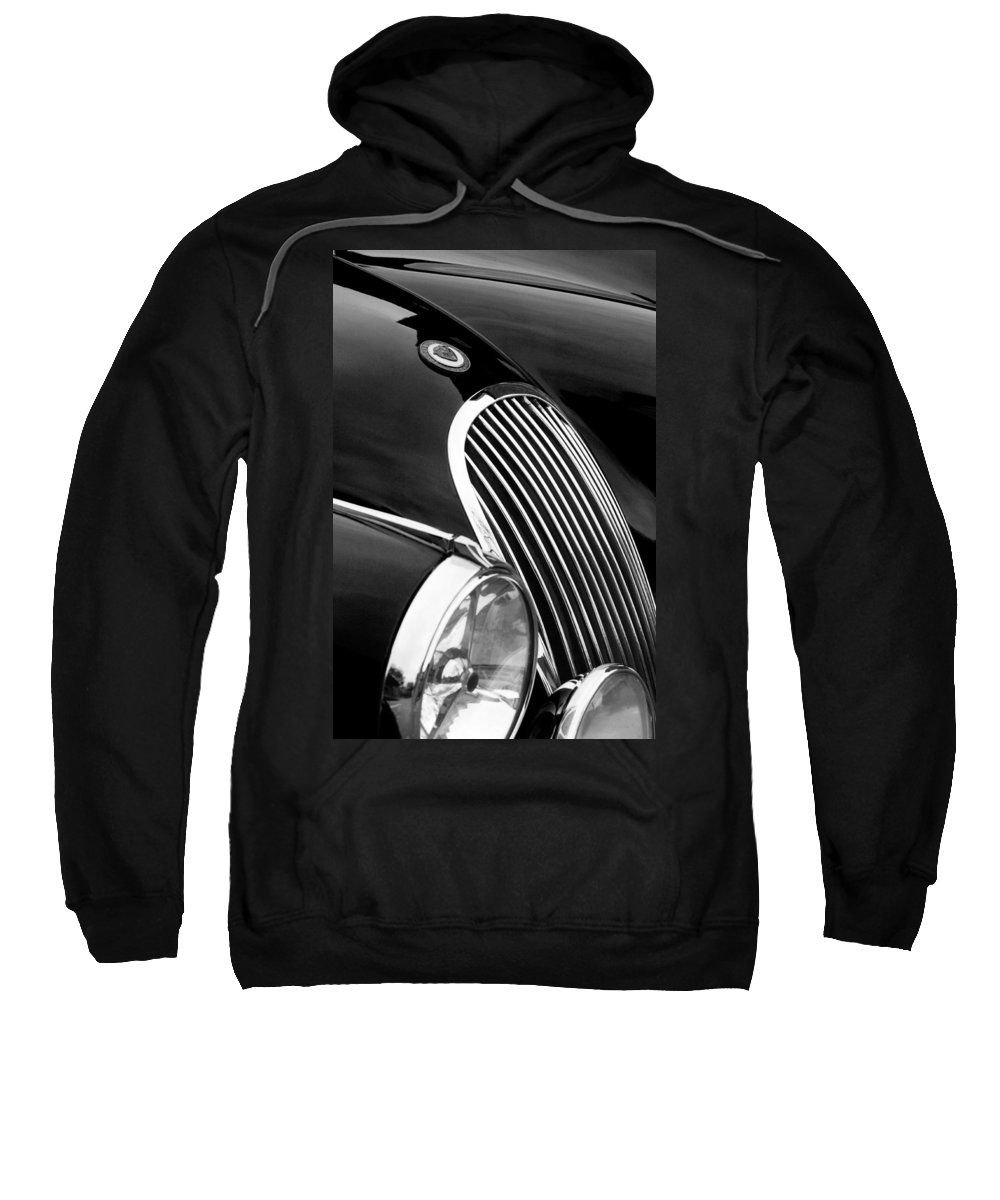 Transportation Sweatshirt featuring the photograph Jaguar Grille Black And White by Jill Reger