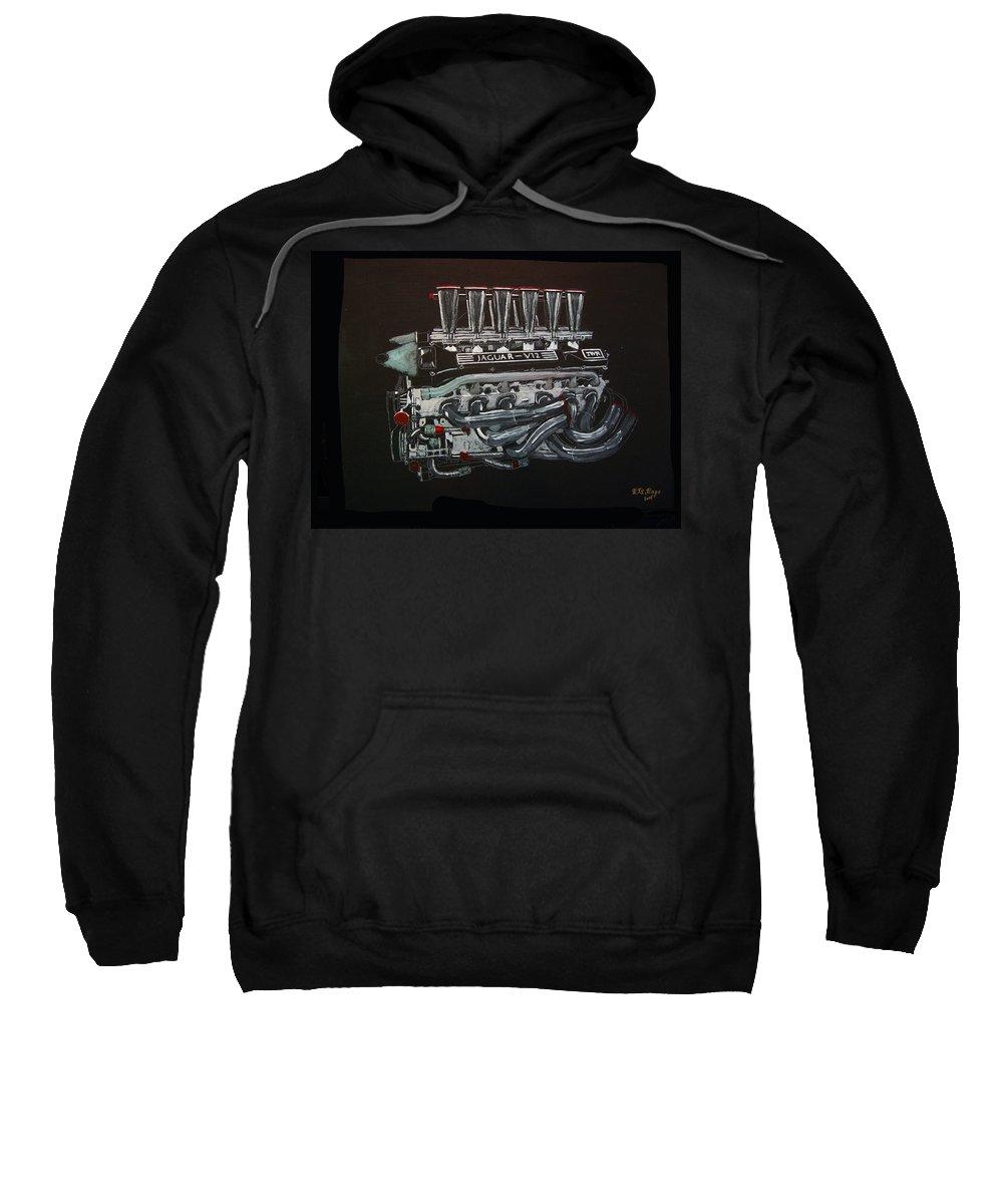 Jaguar Sweatshirt featuring the painting Jaguar V12 Twr Engine by Richard Le Page
