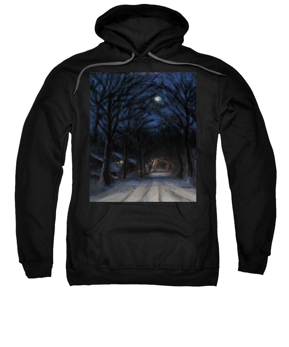 Winter Sweatshirt featuring the painting January Moon by Sarah Yuster