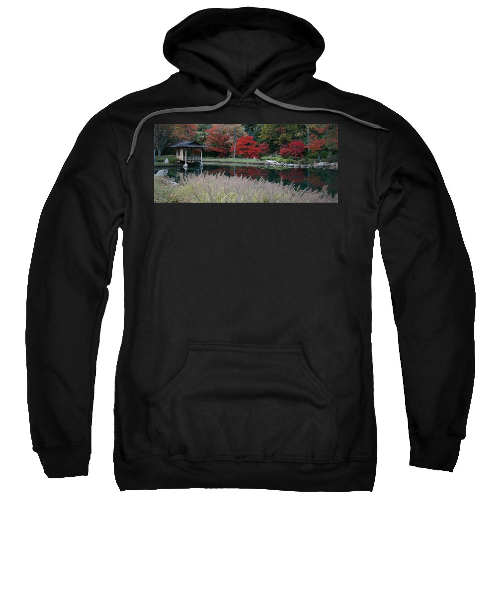 Japanese Sweatshirt featuring the mixed media Japanese Serenity by Tina Meador