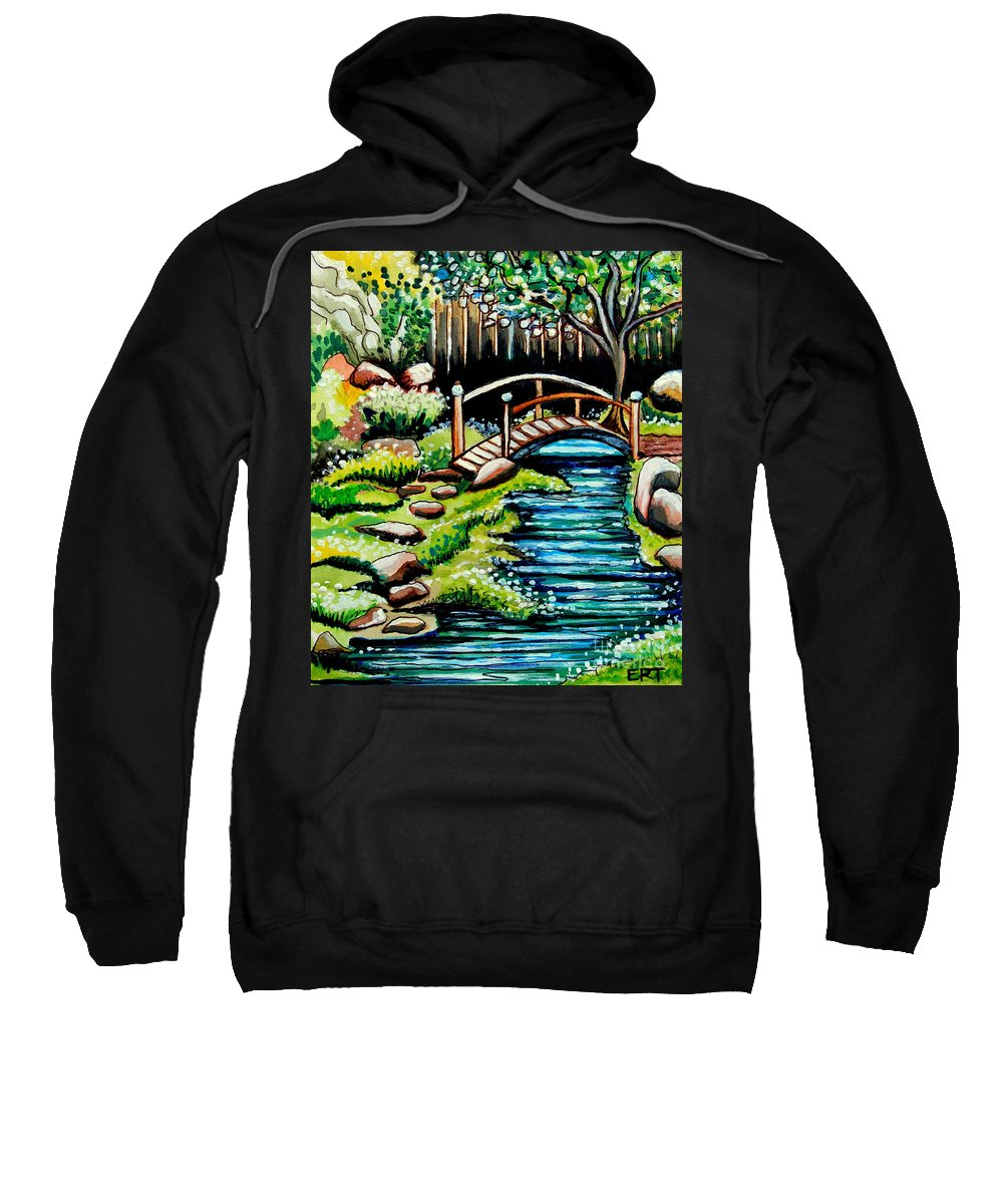Landcape Sweatshirt featuring the painting Japanese Tea Gardens by Elizabeth Robinette Tyndall