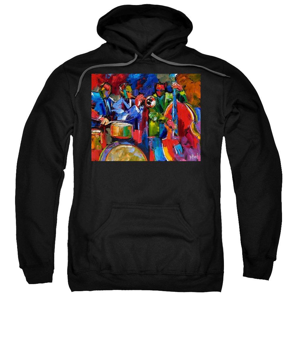 Jazz Sweatshirt featuring the painting Jazz Beat by Debra Hurd