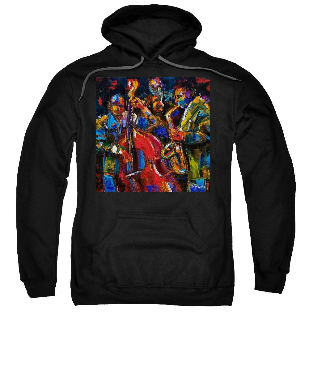 Jazz Sweatshirt featuring the painting Jazz by Debra Hurd