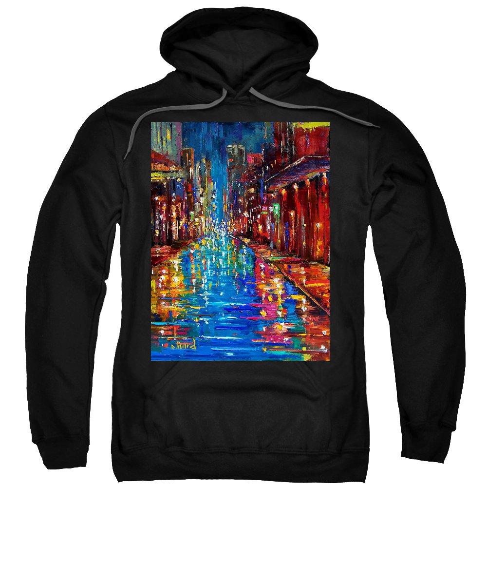 New Orleans Sweatshirt featuring the painting Jazz Drag by Debra Hurd