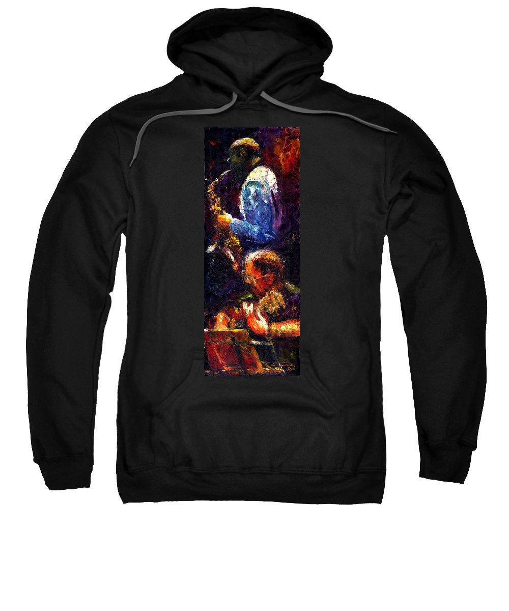 Jazz Sweatshirt featuring the painting Jazz Duet by Yuriy Shevchuk