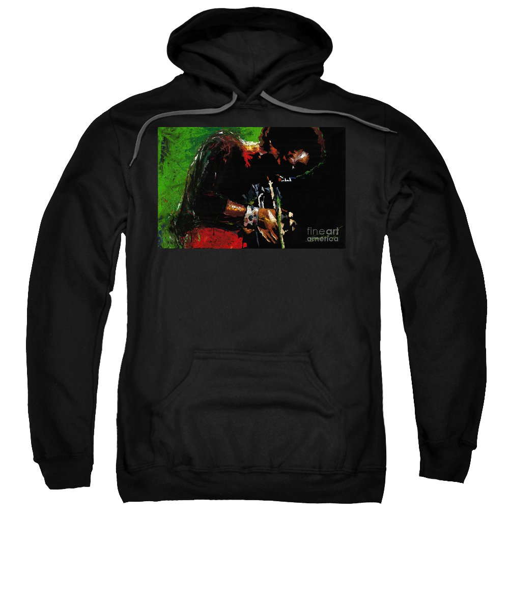 Jazz Sweatshirt featuring the painting Jazz Miles Davis 1 by Yuriy Shevchuk