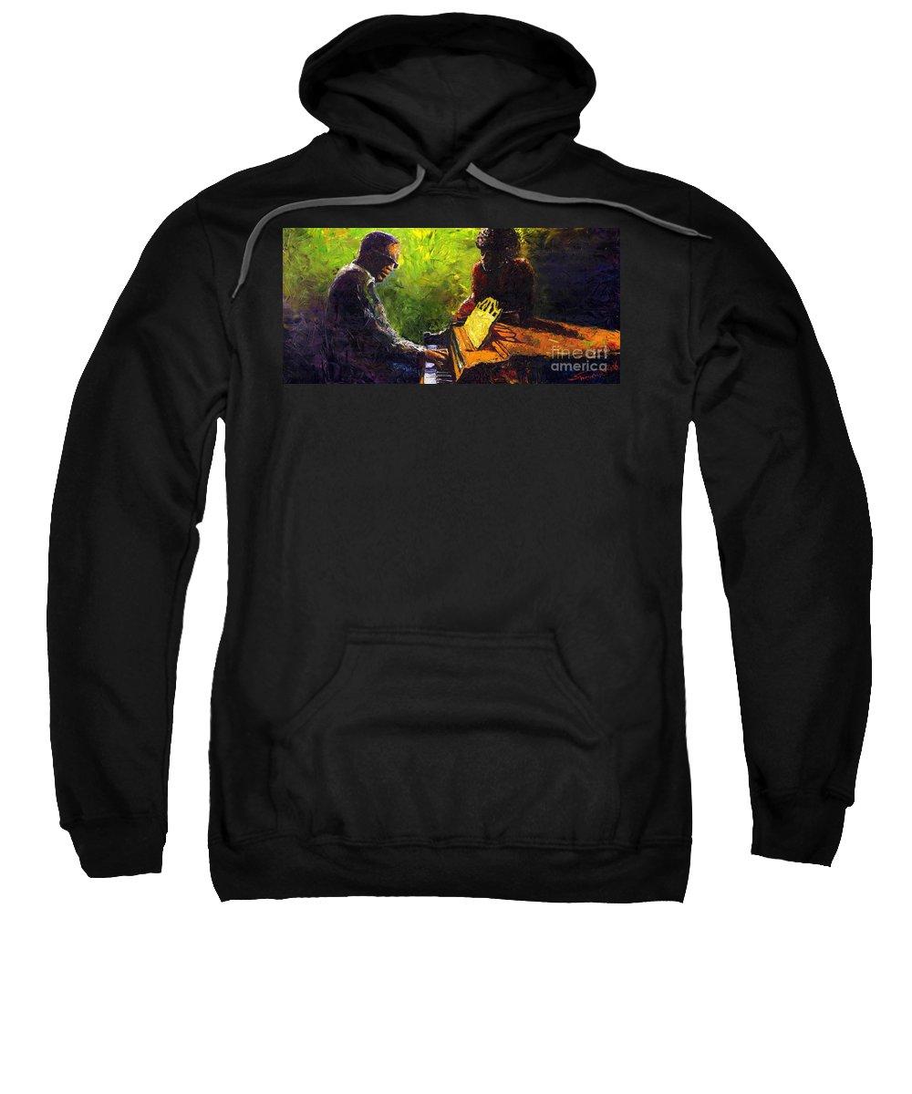 Jazz Sweatshirt featuring the painting Jazz Ray Duet by Yuriy Shevchuk