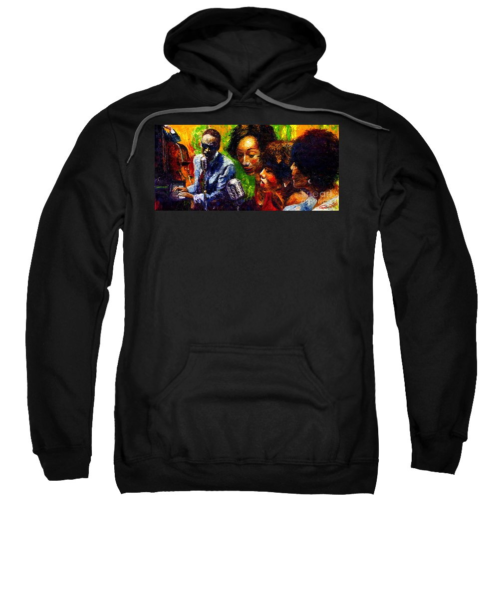 Jazz Sweatshirt featuring the painting Jazz Ray Song by Yuriy Shevchuk