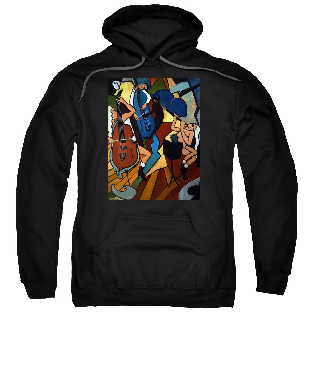Musicians Sweatshirt featuring the painting Jazz Trio by Valerie Vescovi
