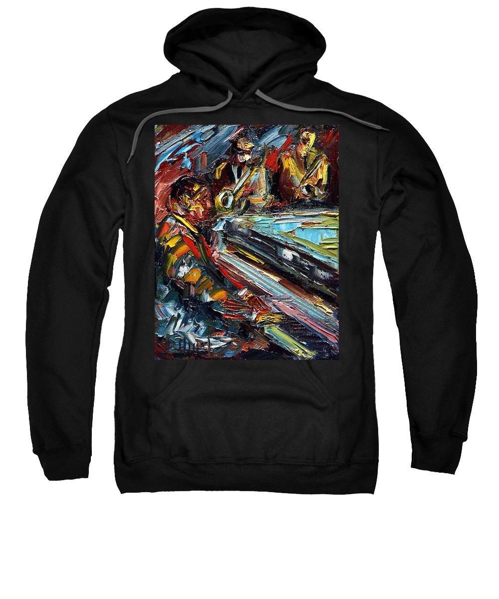 Jazz Sweatshirt featuring the painting Jazz Tunes by Debra Hurd