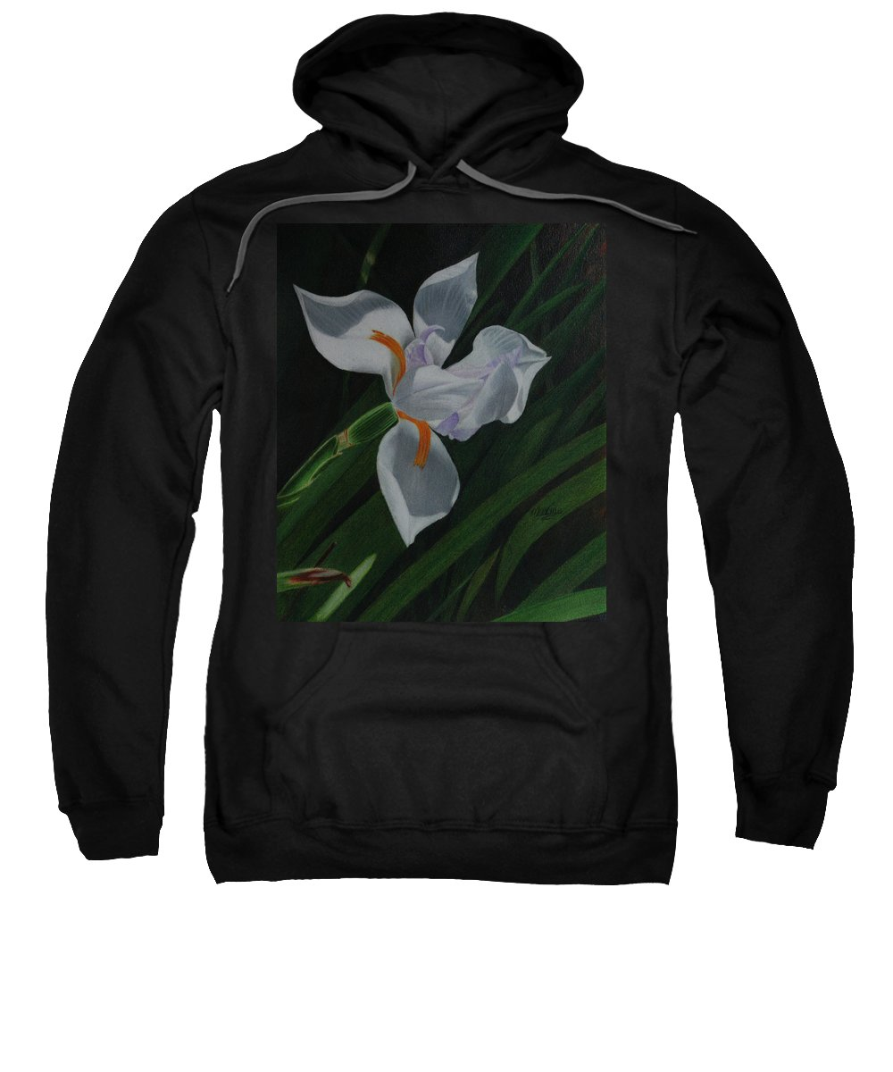 Flower Sweatshirt featuring the painting Jekyll Flower by Maxine Blackwell