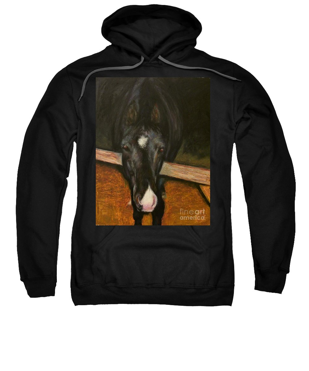 Horse Sweatshirt featuring the painting Jesse by Frances Marino