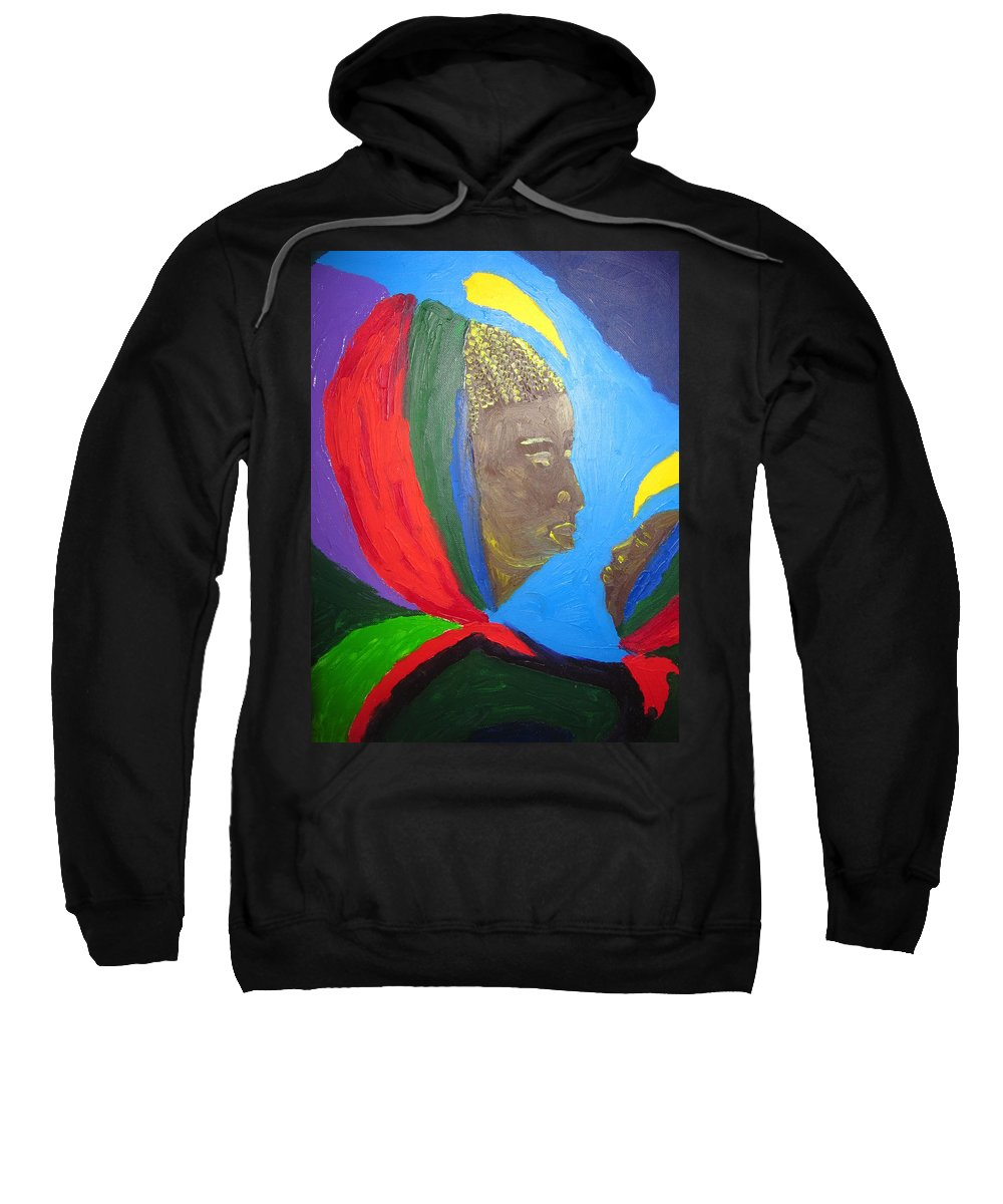 Jesus Sweatshirt featuring the painting Jesus And His Mother Mary by Gloria Ssali
