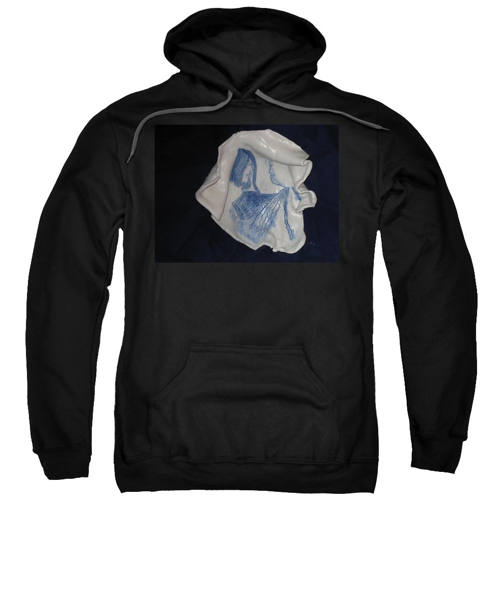 Jesus Sweatshirt featuring the ceramic art Jesus Christ And Mother Mary by Gloria Ssali