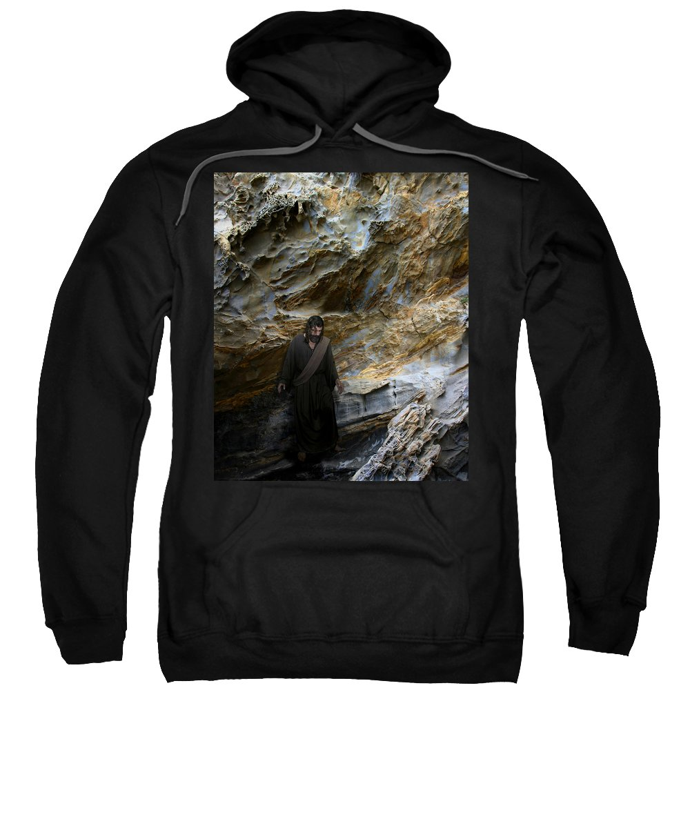 Alex-acropolis-calderon Sweatshirt featuring the photograph Jesus Christ- You Are My Hiding Place And My Shield by Acropolis De Versailles