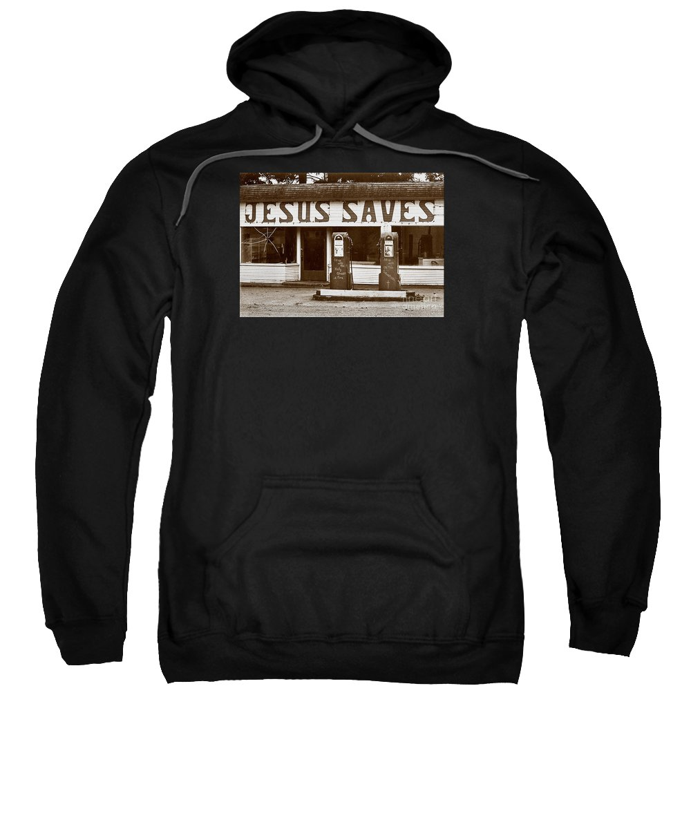 Jesus Sweatshirt featuring the photograph Jesus Saves 1973 by Michael Ziegler