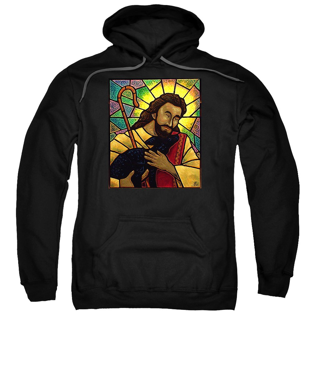 Jesus Sweatshirt featuring the painting Jesus The Good Shepherd by Jim Harris