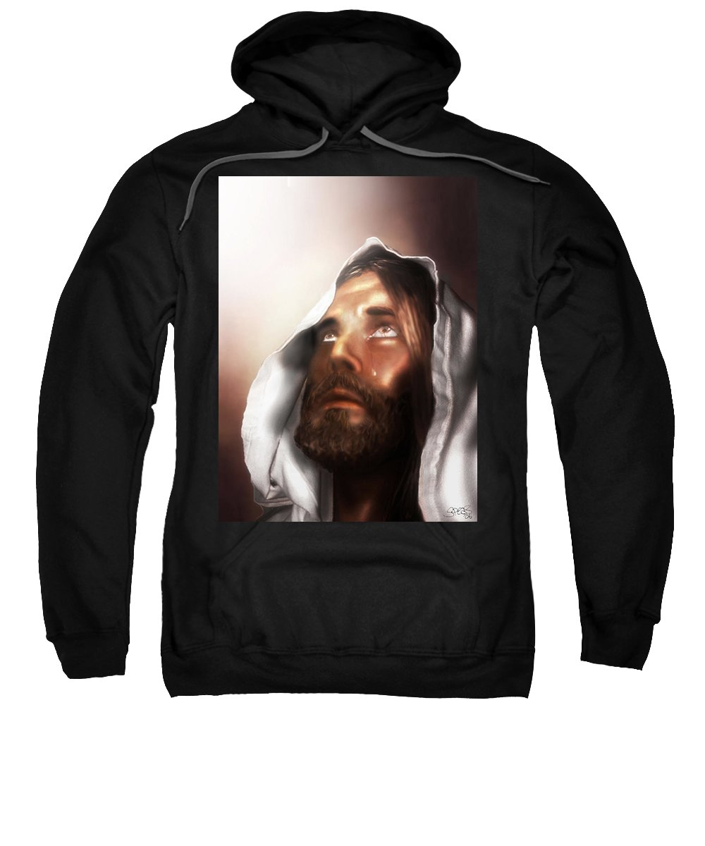Jesus Sweatshirt featuring the mixed media Jesus Wept by Mark Spears