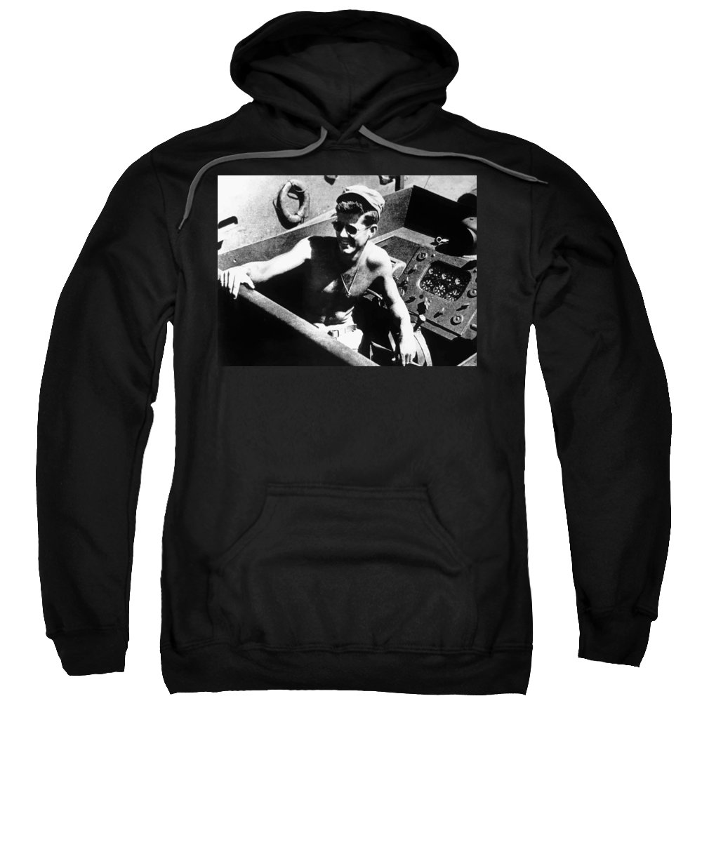 Jfk Sweatshirt featuring the painting Jfk On Pt 109 Painting by War Is Hell Store