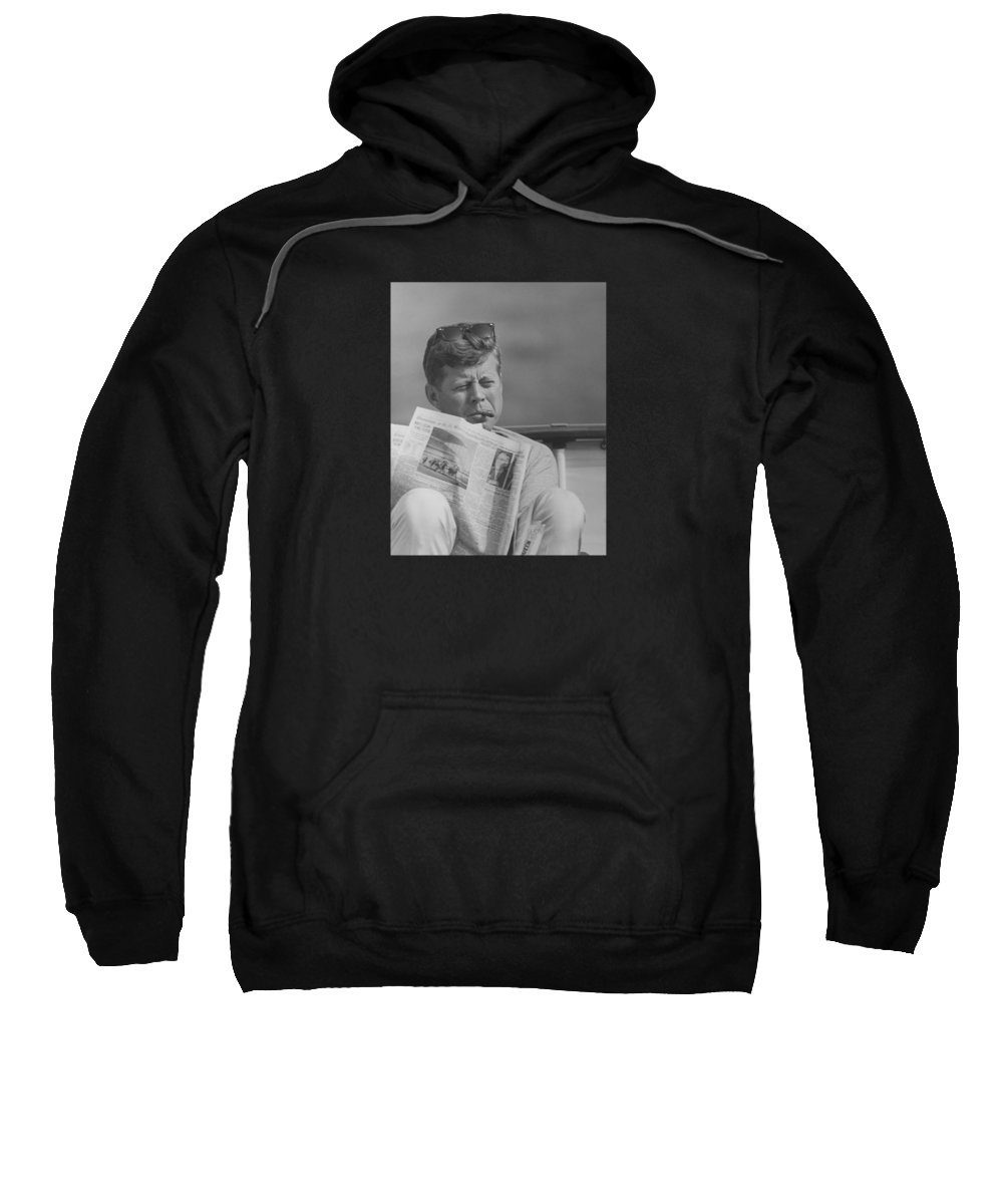 Jfk Sweatshirt featuring the photograph Jfk Relaxing Outside by War Is Hell Store