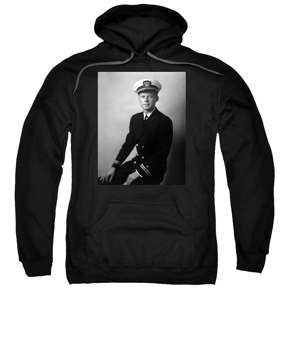 Jfk Sweatshirt featuring the painting Jfk Wearing His Navy Uniform Painting by War Is Hell Store