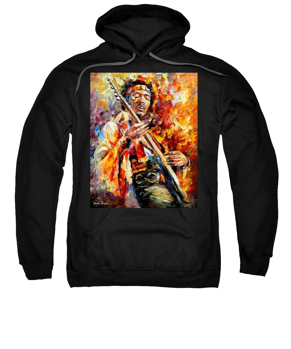 Music Sweatshirt featuring the painting Jimi Hendrix by Leonid Afremov