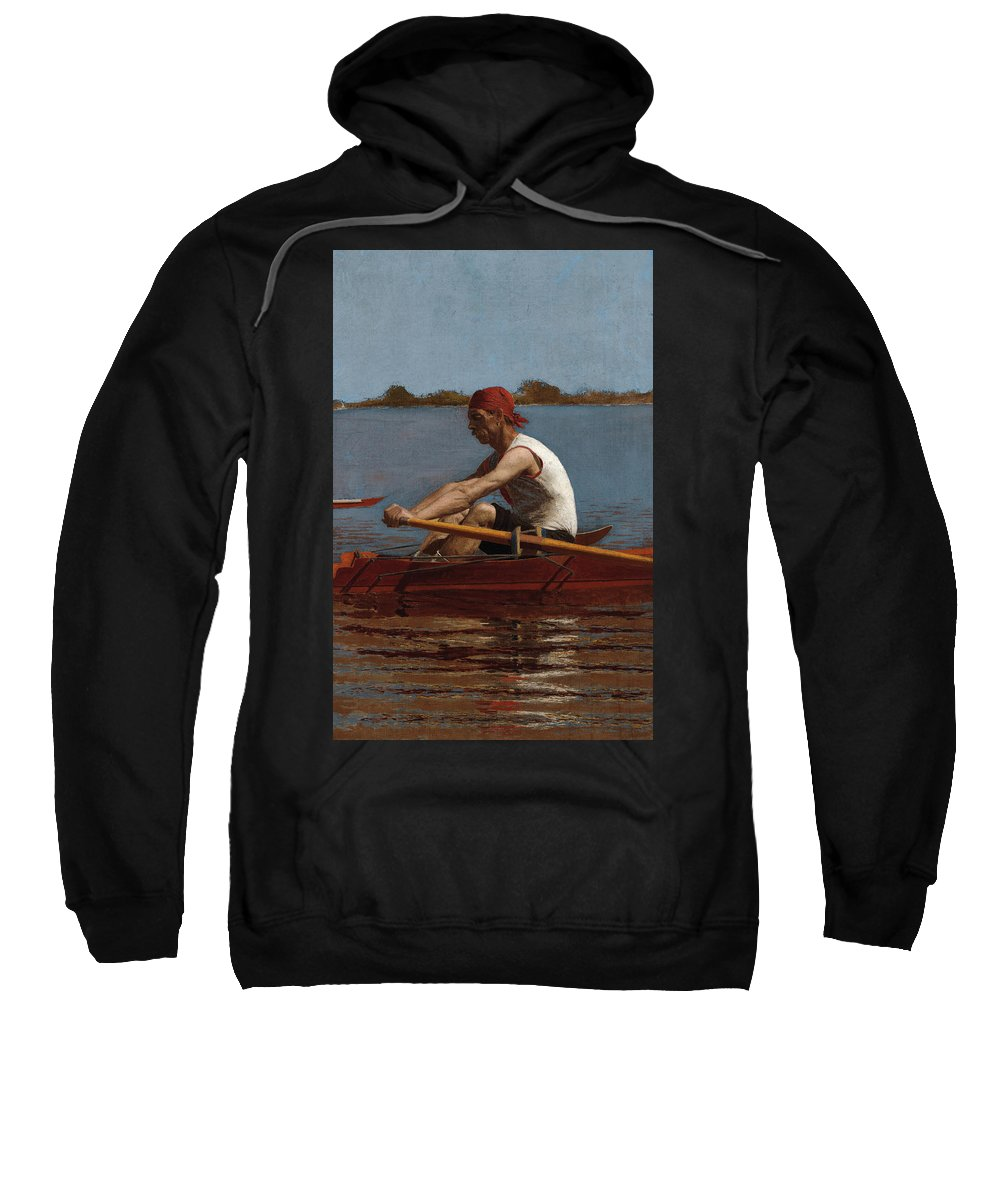 America Sweatshirt featuring the painting John Biglin In A Single Scull by Thomas Eakins