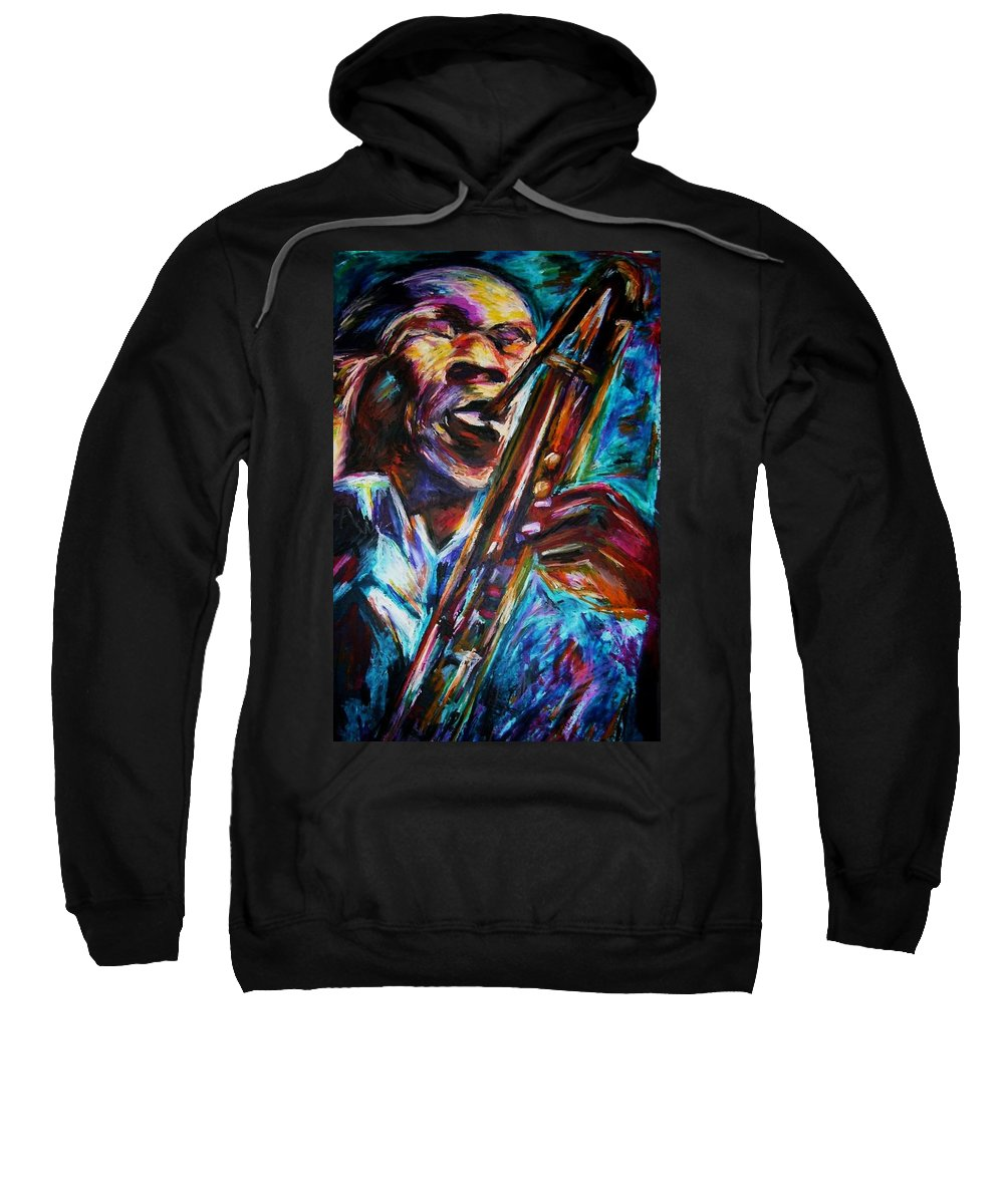 Jazz Sweatshirt featuring the painting John Coltrane by Frances Marino