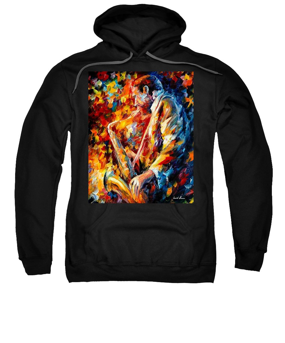 Music Sweatshirt featuring the painting John Coltrane by Leonid Afremov