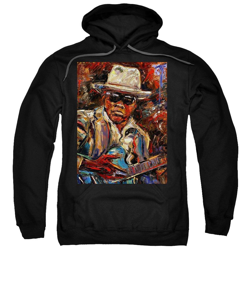 Blues Sweatshirt featuring the painting John Lee Hooker by Debra Hurd