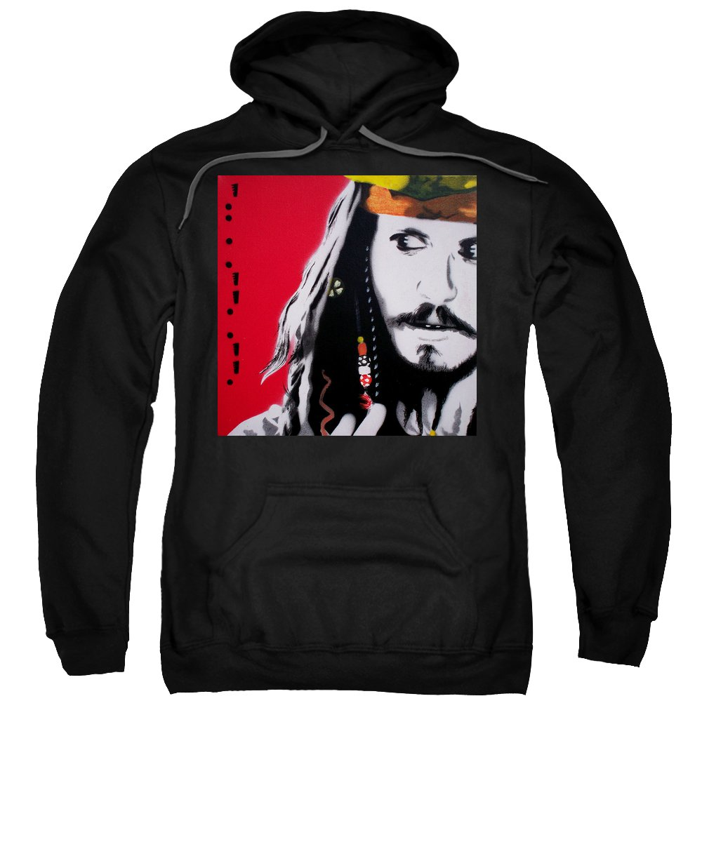 Johnny Depp Sweatshirt featuring the painting Johnny Depp by Gary Hogben