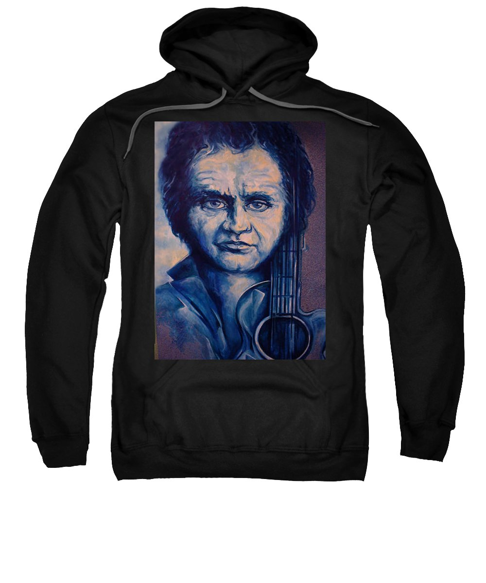 Johnny Cash Original Painting Sweatshirt featuring the painting Johnny by Lloyd DeBerry