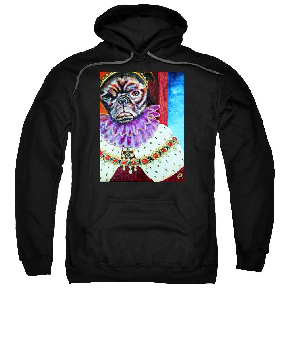 Pug Sweatshirt featuring the painting Joji by Linda Markwardt